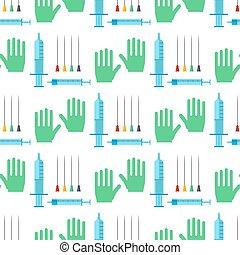 médicament, vaccination, modèle, hôpital, aiguille, seamless, illustration, dessin animé, vecteur, injecter, fond, seringue, injection, monde médical