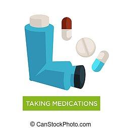 médicaments, asthme, prendre, maladie, traitement, inhalateur, pilules