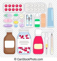 médicaments, dessin animé, pilules
