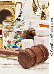 médicaments, juge's, hammer.