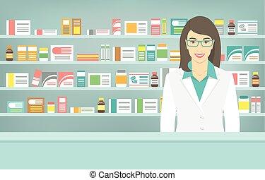 médicaments, opposé, pharmacie, style, étagères, plat, pharmacien, jeune