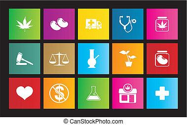 médicinal, marijuana, icône