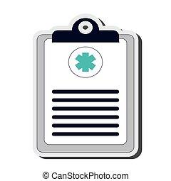 médico, área de transferência, ícone