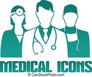médico, ícone, diferente, doutores
