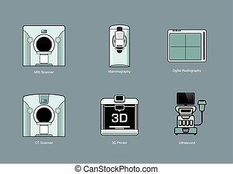 médico, ícone, modality, conjuntos