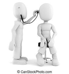 médico, 3d, -, examen, hombre