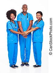 médico, africano, equipe