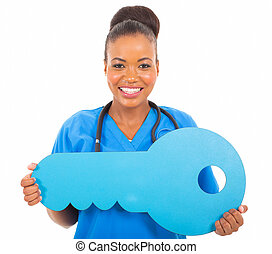 médico, africano, símbolo, tecla, doutor