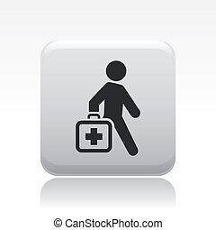 médico, aislado, ilustración, solo, vector, icono