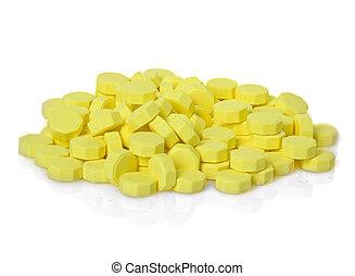 médico, amarillo, píldoras, cápsula, aislado