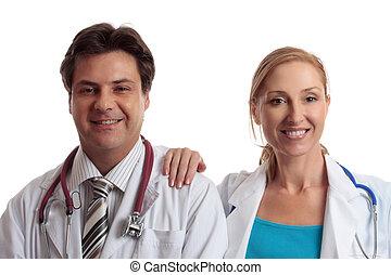 médico, amigável, doutores
