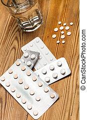 médico, ampollas, píldoras, cristal del agua, píldora