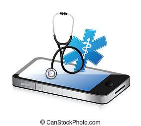 médico, app, com, um, estetoscópio