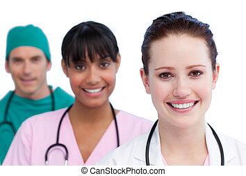 médico, apresentação, alegre, equipe