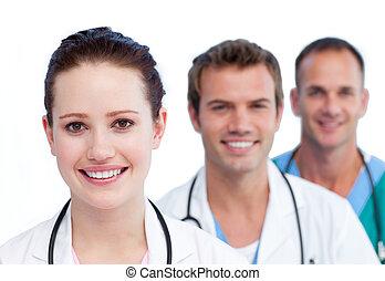médico, apresentação, sorrindo, equipe