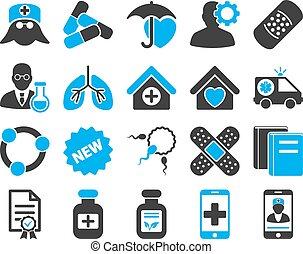 médico, bicolor, iconos