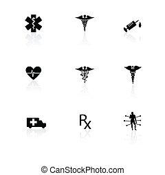 médico, blanco, negro, reflexiones, iconos