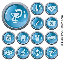 médico, botões