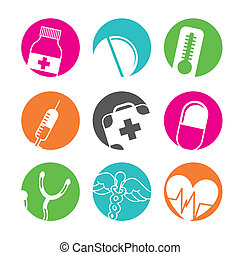 médico, botones