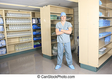 médico, braços, esterilização, mãos, cirurgia, pessoal,...