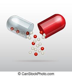 médico, cápsula, rojo, apertura