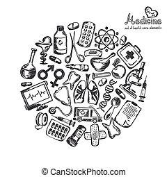médico, círculo branco, fundo, ícones