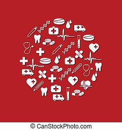 médico, círculo, iconos