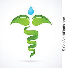 médico, caduceo, -, medicina alternativa, verde, y, naturaleza, símbolo