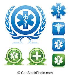 médico, caduceus, e, asclepius, sinal