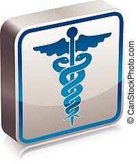 médico, caduceus, símbolo.