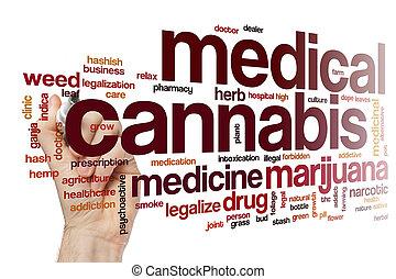 médico, cannabis, palabra, nube
