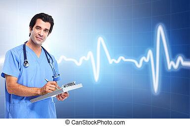 médico, cardiologist., saúde, care., doutor