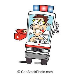 médico, caricatura, ambulância