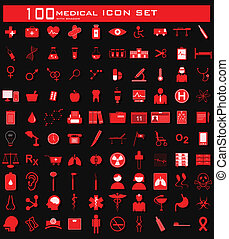 médico, cem, jogo, ícone
