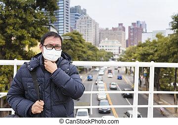 médico, city.men, máscara, dor de garganta, smog