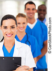 médico, closeup, esperto, equipe