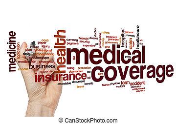 médico, cobertura, palabra, nube