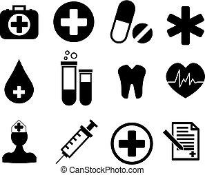 médico, cobrança, ícones