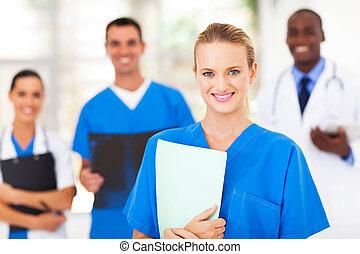 médico, colegas, bonito, enfermeira