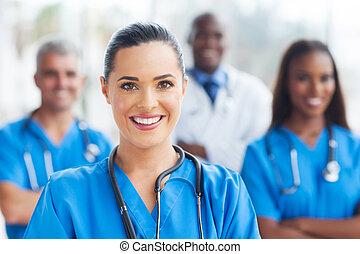 médico, colegas, enfermera