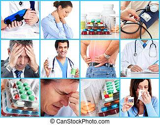 médico, collage.