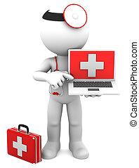 médico, con, computador portatil