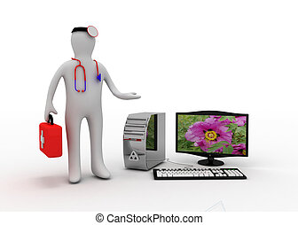 médico, con, computadora