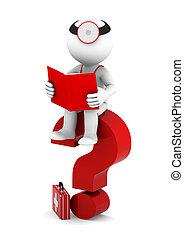 médico, con, libro, sittting, en, rojo, signo de interrogación