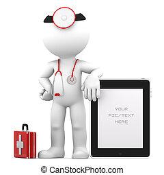 médico, con, tableta, computadora