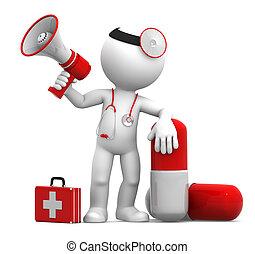 médico, con, un, píldora, y, megáfono