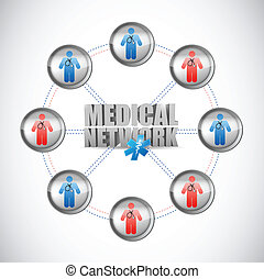 médico, conectado, red, ilustración, doctors