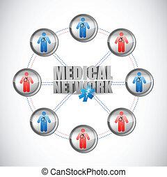 médico, conectado, rede, ilustração, doutores