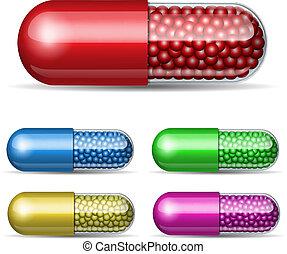 médico, conjunto, cápsula, gránulos