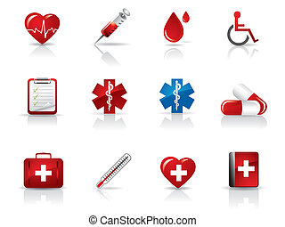 médico, conjunto, hospital, iconos